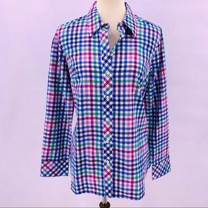 Talbots Plaid Cotton Button Front Shirt